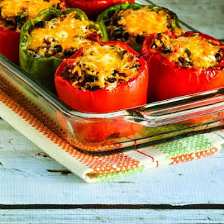 Southwestern Stuffed Peppers with Black Beans and Green Chiles.