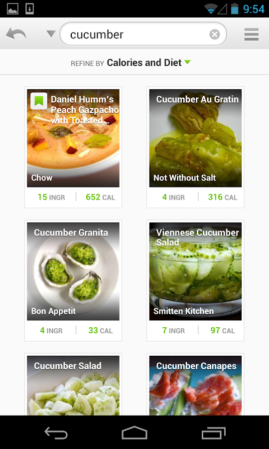 Recipes & Nutrition- screenshot