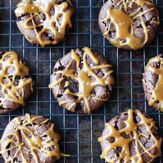 """""""Dark Chocolate Dreams"""" Peanut Butter Cookies with """"The Bee's Knees"""" Caramel Drizzle."""