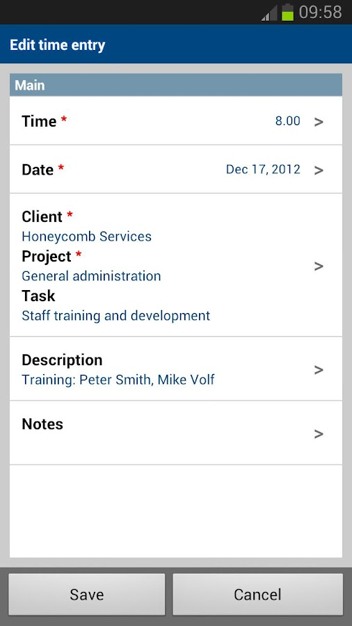 NetSuite OpenAir Mobile- screenshot