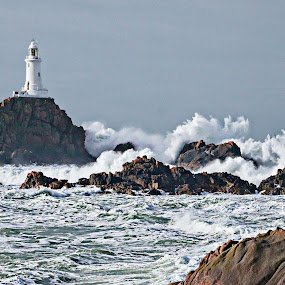 Corbiere Storm February 2 by Stewart JOHN Lobb - Landscapes Waterscapes