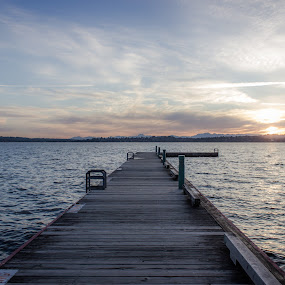 Lake Washington at Sunset by Stanton Hunter - Landscapes Waterscapes ( washington state, seattle, lake washington, sunset, pier, lake )
