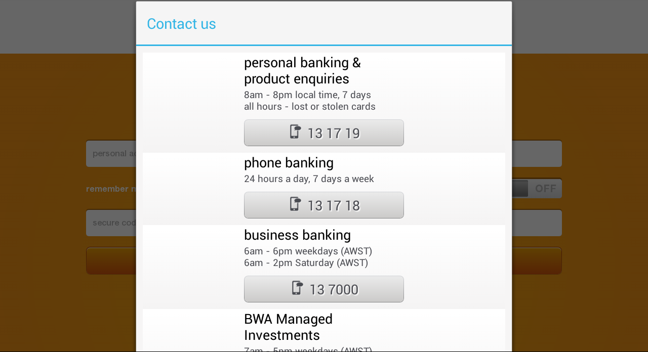 Bankwest - screenshot