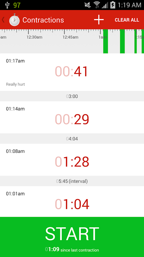 Contractions Timer for Labor- screenshot