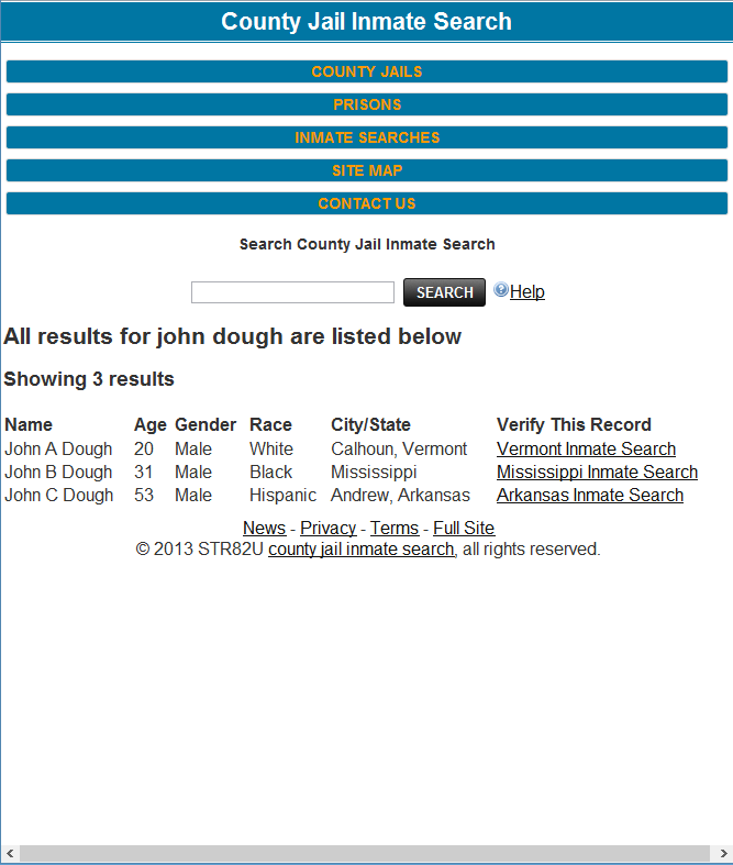 County Jail Inmate Search - screenshot