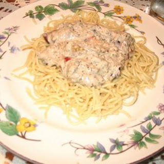 Salmon Fettuccini with Blue Cheese and Olives