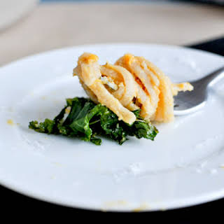 Sweet Potato Cream Pasta with Crispy Kale.