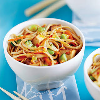 Udon Noodles with Tofu.