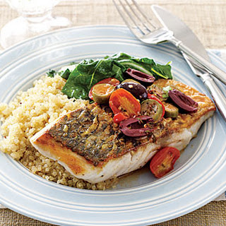Sea Bass with Tomatoes and Olives.
