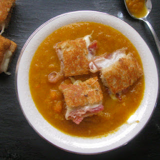 Roasted Carrot Soup w/ Bacon Grilled Cheese Croutons