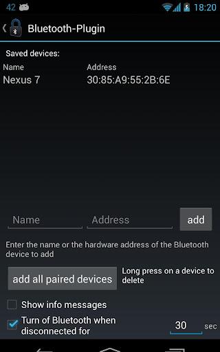 Delayed Lock Bluetooth Plugin
