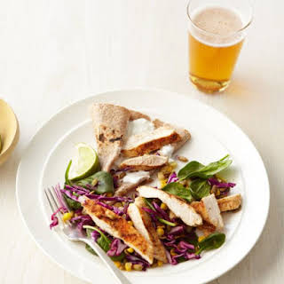 Red Cabbage Salad with Spicy Grilled Chicken and Pepitas.