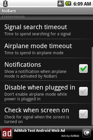 NoBars Battery Saver - screenshot