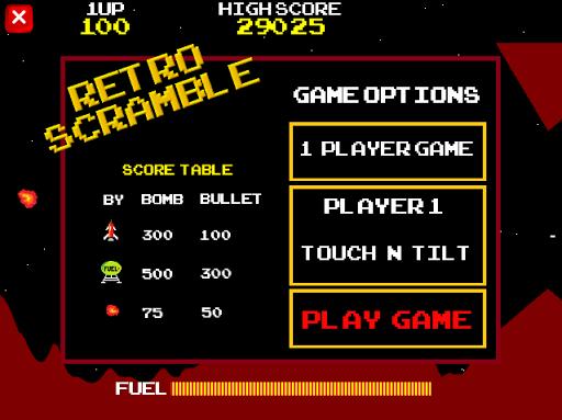 Retro Scramble 1 or 2 player