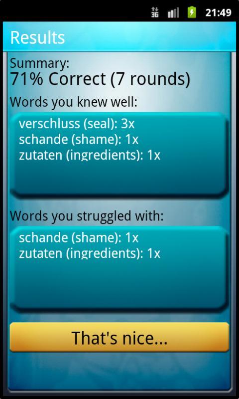 Ofo Vocabulary Trainer- screenshot