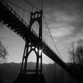 St. Johns Bridge by Amy Woldrich - Landscapes Travel ( water, oregon, willamette river, portland, multnomah, bridge, st johns, pdx, river, black and white, b&w, landscape,  )