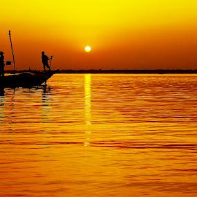 by Shivalkar Jha - Landscapes Sunsets & Sunrises ( falta, sunset, india, shivalkar jha, sez, boat )