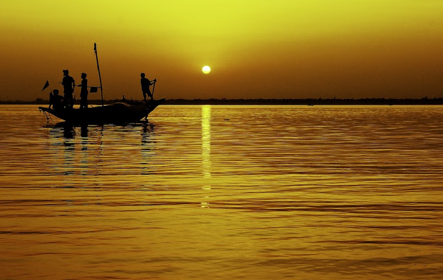 by Shivalkar Jha - Landscapes Sunsets & Sunrises ( falta, sunset, india, shivalkar jha, sez, boat )