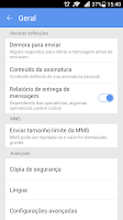 Screenshot of GO SMS Pro Portuguese language