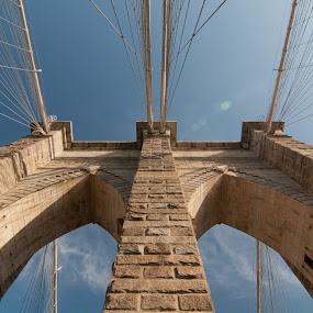 Brooklyn Bridge by Johannes Schaffert - Buildings & Architecture Bridges & Suspended Structures ( architechture, sky, america, summer, symmetry, bridge, new york, nyc, usa, united states, brooklyn,  )