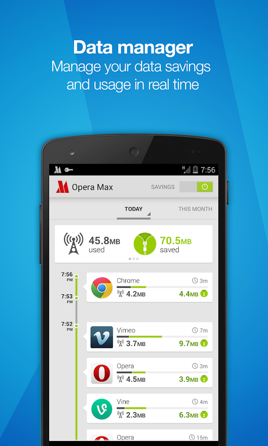 Opera Max - Data manager - screenshot