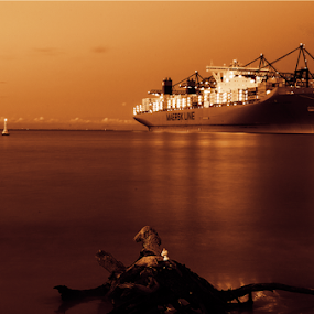 Container ship by Morgentau ;) - Transportation Boats ( ship, container ship, night, transportation,  )