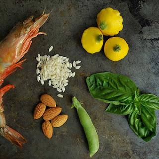 Shrimp and Sugar Snap Pea Risotto with an Almond-Basil Pesto