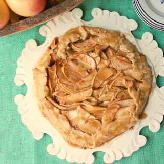 Rustic Apple Gallette with Oil Crust and Caramel Glaze.