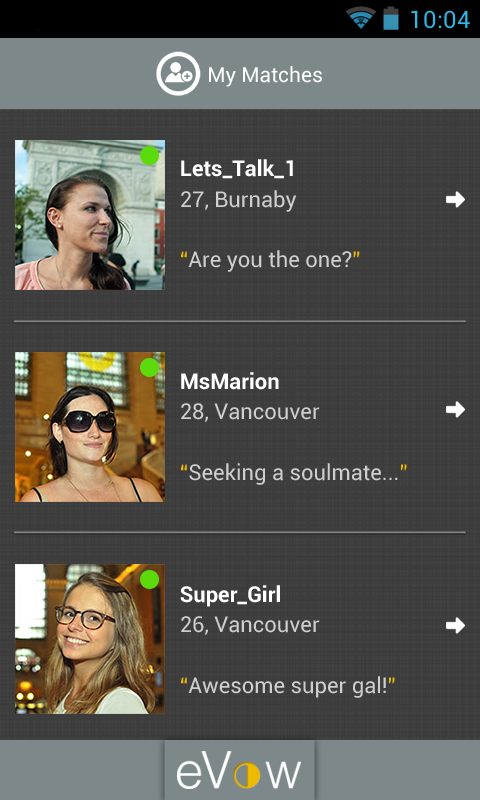 eVow Online Dating - screenshot