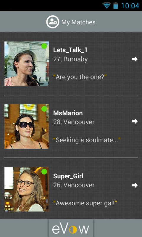 eVow Online Dating - screenshot