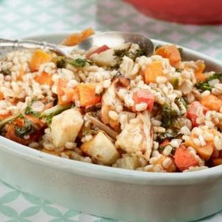 Pearl Barley Risotto With Roasted Winter Vegetables
