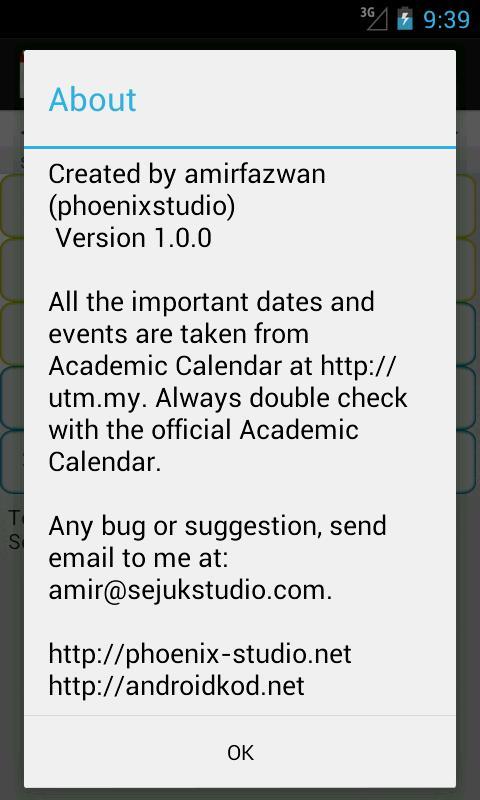 UTM Calendar - screenshot