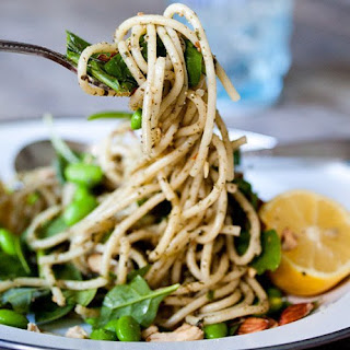 Pesto Pasta with Lemon, Spinach, Edamame & Toasted Almonds.