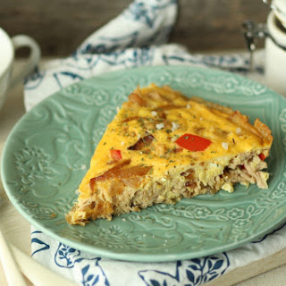 Pulled Pork, Caramelized Onion, and Red Pepper Frittata
