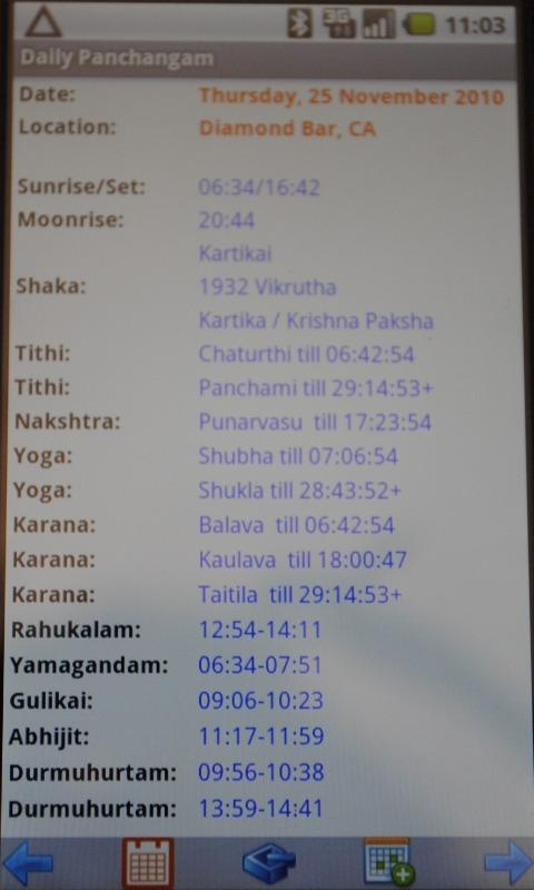 Daily Panchangam - screenshot