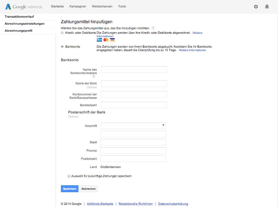 Google Zahlungsmethoden Entfernen
