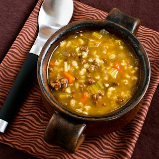 Comforting Ground Beef and Barley Soup.