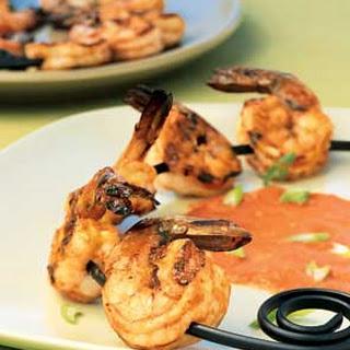 Shrimp Skewers with Charred-Tomato Vinaigrette