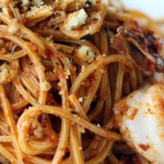 Red Pistou Pasta with Shrimp and Crunchy Herbes de Provence Crumbs