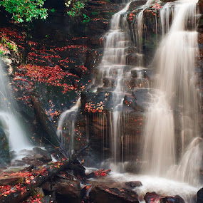 Red Falls by Jon Kowal - Landscapes Waterscapes