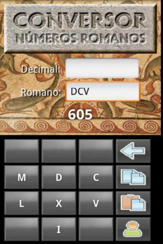 Números romanos: captura de pantalla