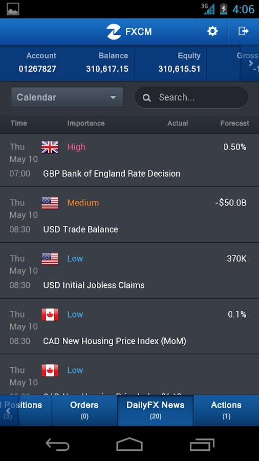 FXCM Trading Station Mobile - screenshot