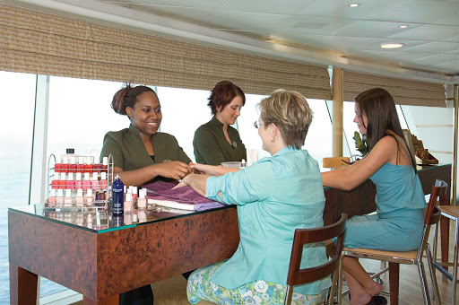 Enchantment-of-the-Seas-manicure - A cruise is a good time to think about a manicure or pedicure. If you're in the mood for that, or for a haircut, coloring or styling, head over to Enchantment of the Seas' Beauty Salon.