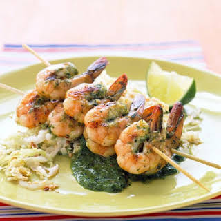 Cilantro-Grilled Shrimp with Sesame Cabbage.