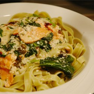 Salmon and Spinach Fettuccine.