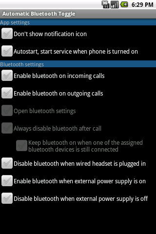 Automatic Bluetooth Toggle - screenshot