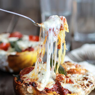 Roasted Garlic Spaghetti Squash Lasagna Boats