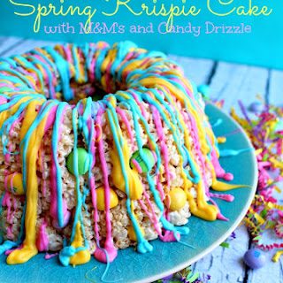 Spring Krispie Cake with M&M's and Candy Drizzle