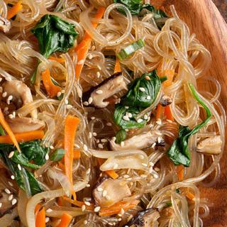 Japchae (Korean Stir-Fried Sweet Potato Noodles).