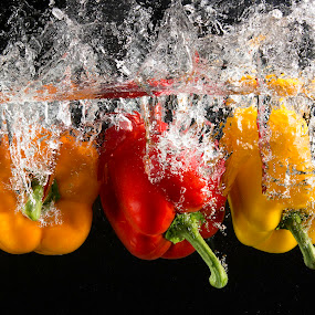 Triple Dip by Troy Wheatley - Food & Drink Fruits & Vegetables ( water, orange, red, splash, pepper, bell pepper, yellow, colorful, mood factory, vibrant, happiness, January, moods, emotions, inspiration,  )